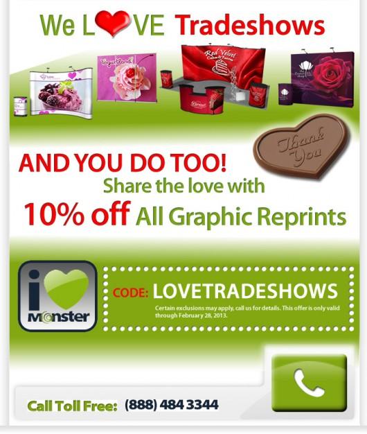 10% trade show reimpresiones gráficas en Feb Promo