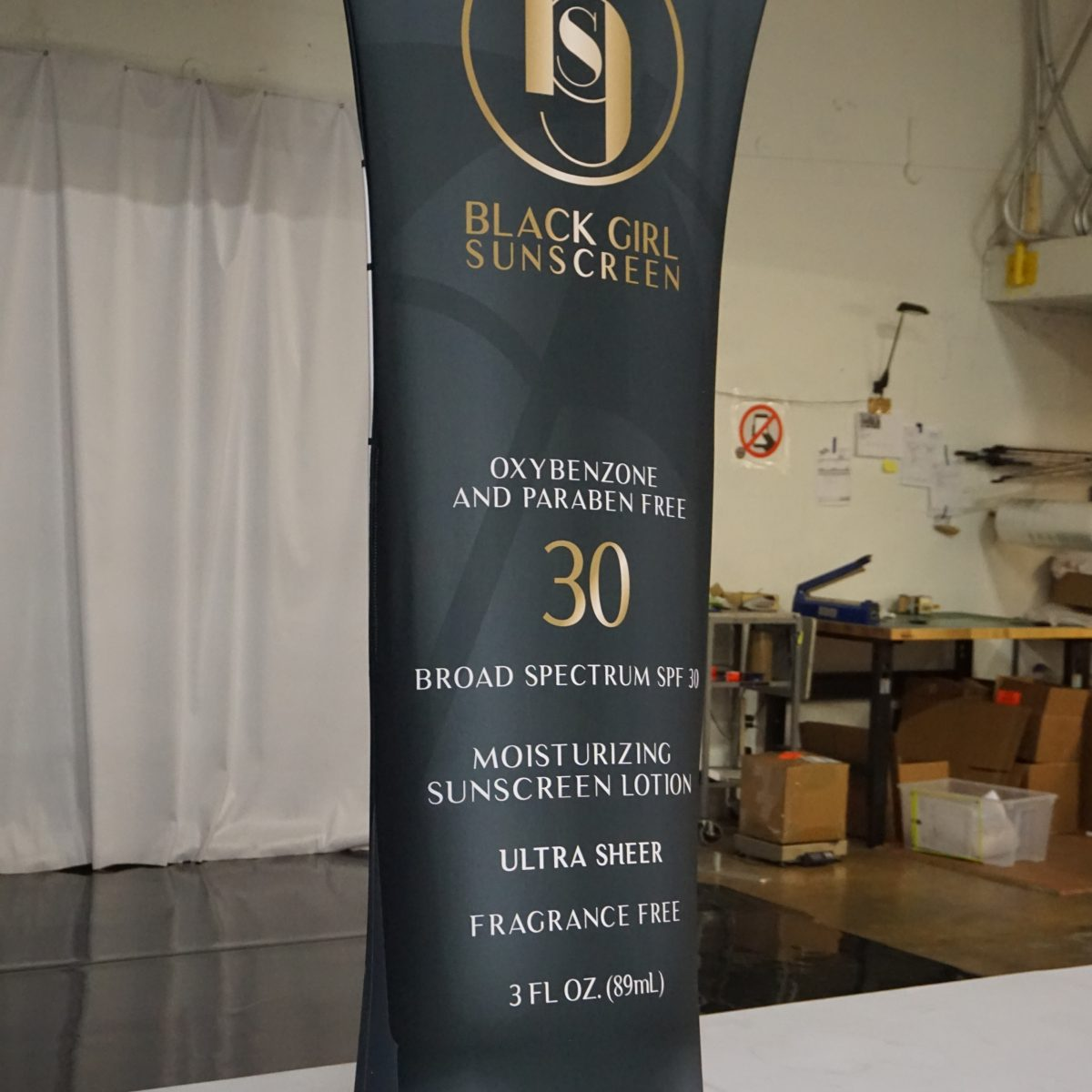 28) Black Girl Sunscreen Tension Fabric Banner Stand - 3