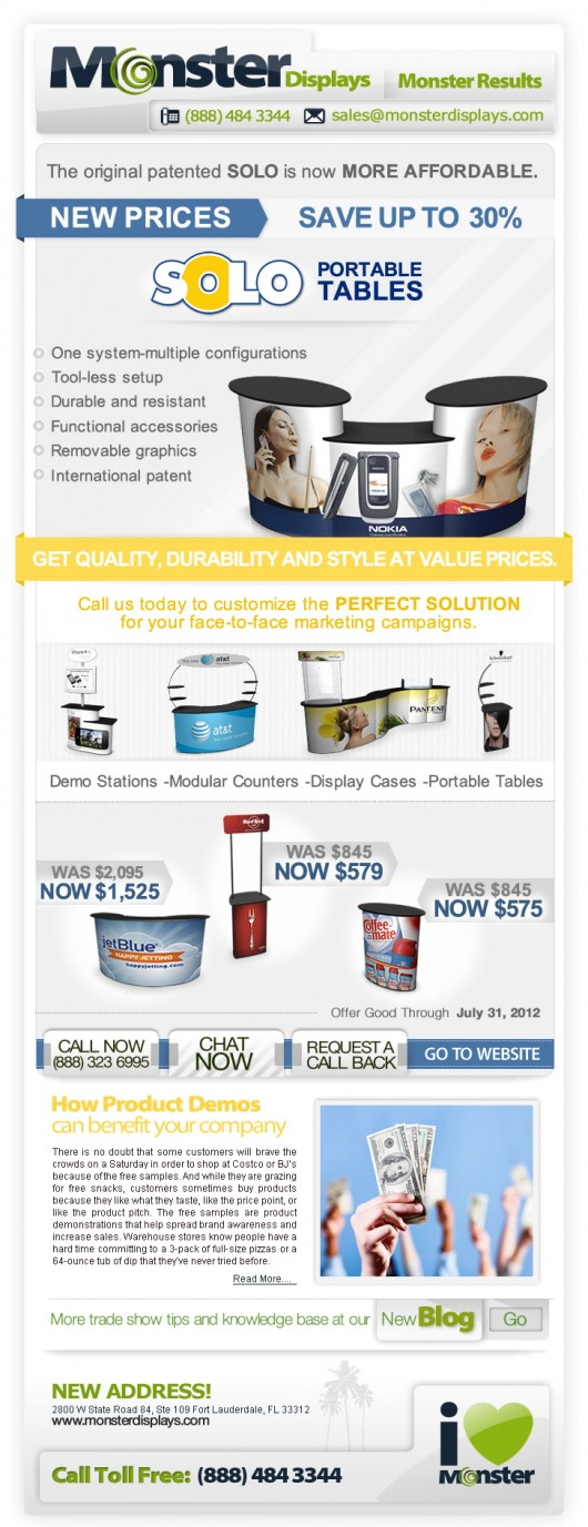 Solo Portable Tables Promotion